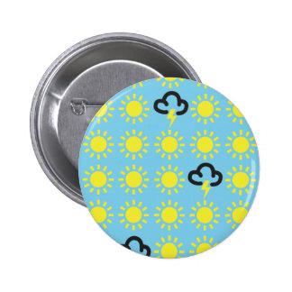 Weather pattern: Retro weather forecast symbols 6 Cm Round Badge