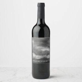 Weather Stormy Clouds Dark Mountain Landscape Wine Label