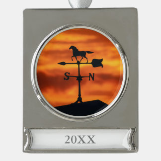Weather Vane at Sunset Silver Plated Banner Ornament