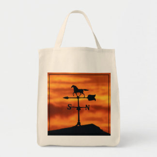 Weather Vane at Sunset Grocery Tote Bag