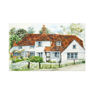 Weatherboard cottages canvas print