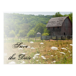 Weathered Barn Country Wedding Save the Date Postcard