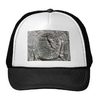 Weathered barn wood with knot trucker hats