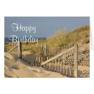 Weathered beach fence and path thru the sand dune card