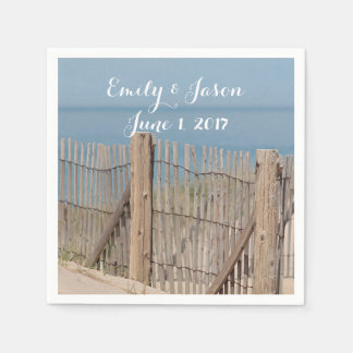 Weathered Beach Fence Disposable Napkin