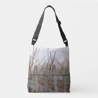 Weathered beach fence tote bag