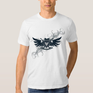 Weathered Black Gray Floral Winged Shield Tshirts