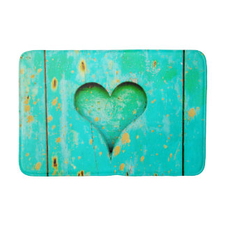Weathered Blue Peeling Paint Wood Heart Symbol Bath Mats