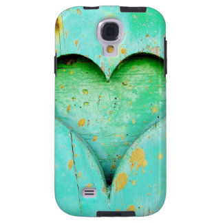 Weathered Blue Peeling Paint Wood Heart Symbol Galaxy S4 Case