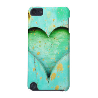 Weathered Blue Peeling Paint Wood Heart Symbol iPod Touch (5th Generation) Covers