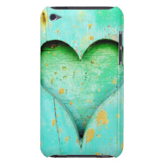Weathered Blue Peeling Paint Wood Heart Symbol iPod Touch Cases