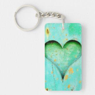 Weathered Blue Peeling Paint Wood Heart Symbol Key Ring