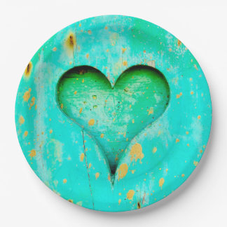 Weathered Blue Peeling Paint Wood Heart Symbol Paper Plate