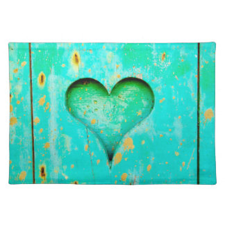 Weathered Blue Peeling Paint Wood Heart Symbol Placemat
