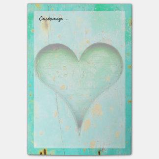 Weathered Blue Peeling Paint Wood Heart Symbol Post-it® Notes