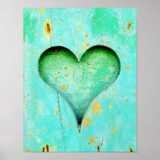 Weathered Blue Peeling Paint Wood Heart Symbol Poster
