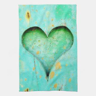 Weathered Blue Peeling Paint Wood Heart Symbol Tea Towel