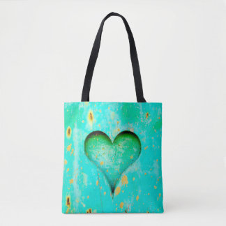 Weathered Blue Peeling Paint Wood Heart Symbol Tote Bag