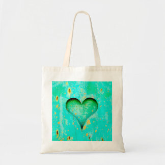 Weathered Blue Peeling Paint Wood Heart Symbol Tote Bag