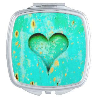 Weathered Blue Peeling Paint Wood Heart Symbol Travel Mirrors