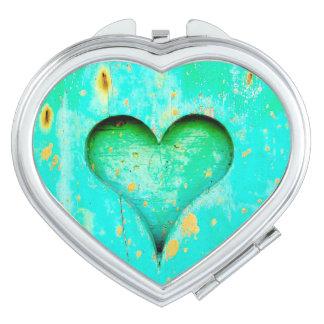 Weathered Blue Peeling Paint Wood Heart Symbol Vanity Mirror