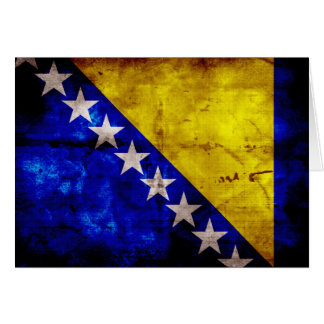 Weathered Bosnia Flag Note Card