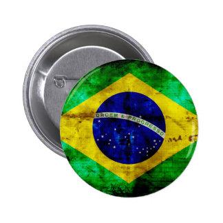 Weathered Brazil Flag 6 Cm Round Badge