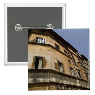 Weathered buildings, Rome, Italy 2 15 Cm Square Badge