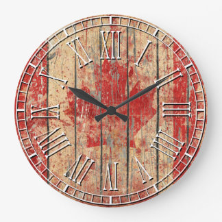 Weathered Canadian Flag Large Clock