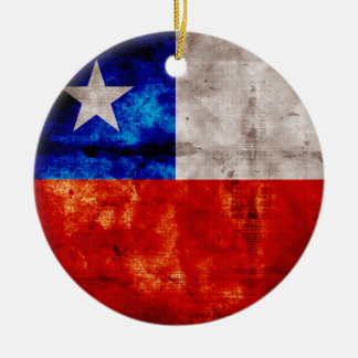 Weathered Chile Flag Round Ceramic Decoration
