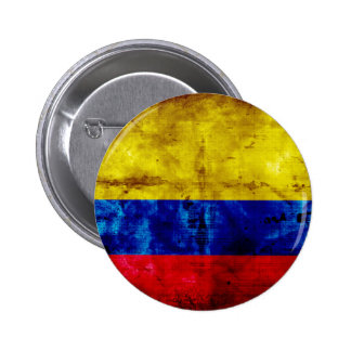 Weathered Colombia Flag 6 Cm Round Badge