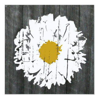 Weathered  Daisy Barnwood- Together With Parents 13 Cm X 13 Cm Square Invitation Card