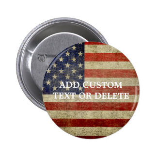 Weathered, distressed American Flag 6 Cm Round Badge