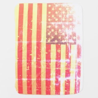 Weathered, Distressed American USA Flag Baby Blanket