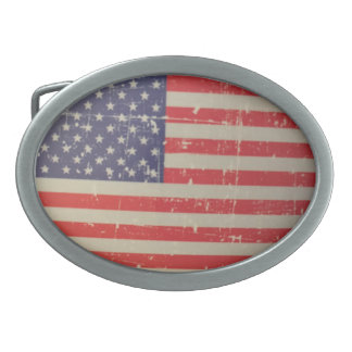 Weathered, Distressed American USA Flag Belt Buckle
