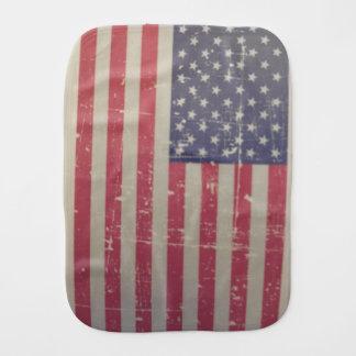 Weathered, Distressed American USA Flag Burp Cloth