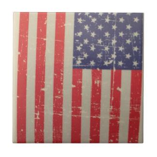 Weathered, Distressed American USA Flag Ceramic Tile