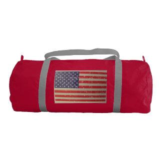 Weathered, Distressed American USA Flag Gym Bag