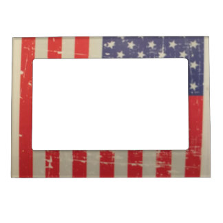Weathered, Distressed American USA Flag Magnetic Frame