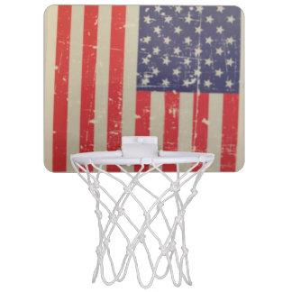 Weathered, Distressed American USA Flag Mini Basketball Hoop