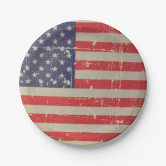 Weathered, Distressed American USA Flag Paper Plate