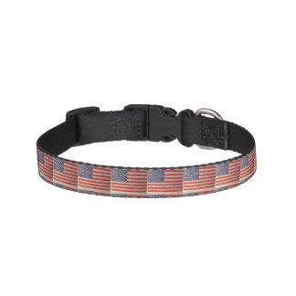 Weathered, Distressed American USA Flag Pet Collar