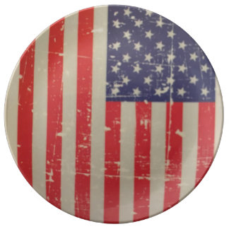 Weathered, Distressed American USA Flag Plate