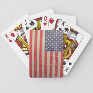 Weathered, Distressed American USA Flag Playing Cards