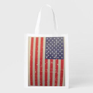 Weathered, Distressed American USA Flag Reusable Grocery Bag