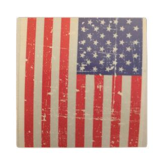 Weathered, Distressed American USA Flag Wood Coaster