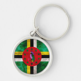 Weathered Dominica Flag Key Ring