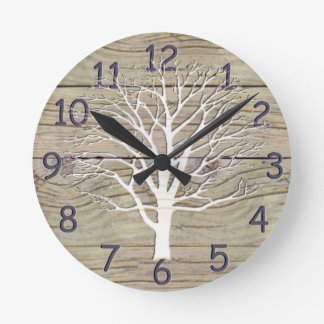Weathered Driftwood with Tree Artwork Round Clock