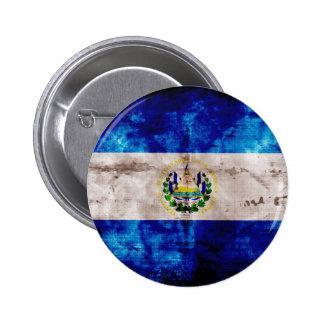 Weathered El Salvador Flag Pinback Button