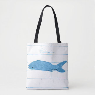 weathered folk art fish tote bag